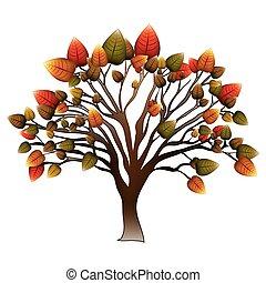 葉が多い, ブランチ, 木, カラフルである