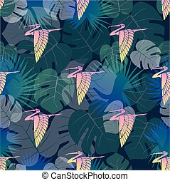 葉パターン, seamless, やし, 背景, 鳥