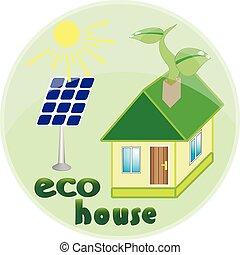 葉子, 房子, 被隔离, 插圖, 綠色的背景, 白色, 圖象
