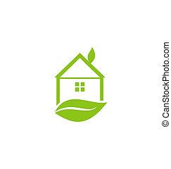 葉子, 房子, 被隔离, 綠色的背景, 白色, 圖象