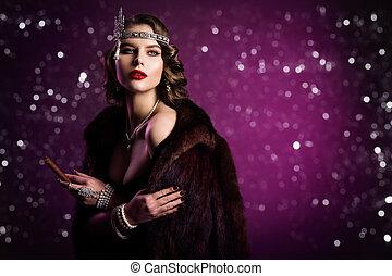 葉巻き, ヘアスタイル, ファッション, 作られる 古い, 美しさ, 紫色, 上に, 構造, 女, レトロ, 背景, 喫煙, 肖像画, モデル