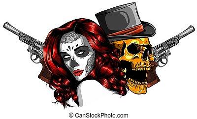 葉巻き, 頭骨, tattoo., 帽子, ギャング, 死, 頭, ベクトル