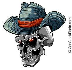 葉巻き, 頭, ベクトル, ギャング, 頭骨, 帽子, tattoo., 死