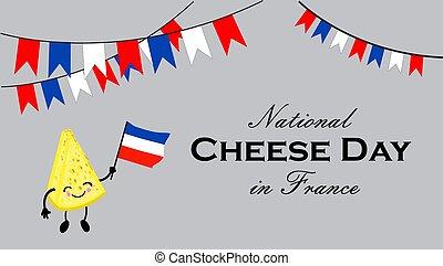 葉書, インターナショナル, 国民, 日, ∥あるいは∥, チーズ, france., かわいい, 漫画, character., 旗, 顔, smile., チーズが多い, day.
