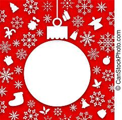 葉書, クリスマスボール, ペーパー, 掛かること