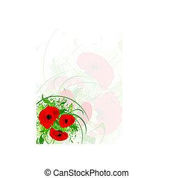 葉書, ケシ, 赤, 花束