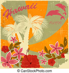 葉書, 型, ハワイ