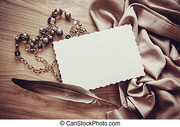 葉書, 型, フレーム, 背景, 絹, ひだのある布