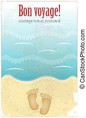 葉書, 型, 旅行, -, 砂ビーチ, 足跡