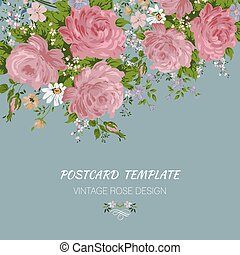 葉書, 型, roses., テンプレート, 招待, カード