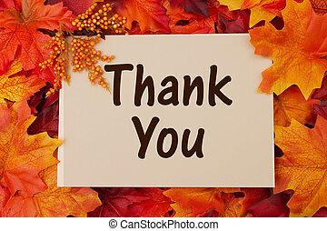 葉, あなた, 感謝しなさい, カード, 秋