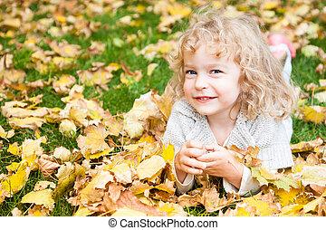 葉, あること, 黄色, 子供
