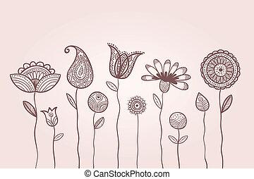 葉, いたずら書き, パターン, 花弁, 花, イラスト