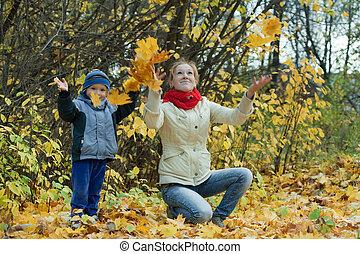 葉, かえで, 投げる, 男の子, 母