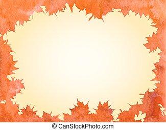 葉, かえで, 水彩画