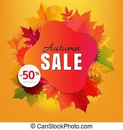 葉, しみ, 秋, セール, 旗, カラフルである