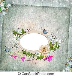 葉, ばら, 蝶, フレーム, 写真