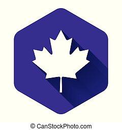 葉, アイコン, イラスト, leaf., カナダ, 紫色, shadow., button., ベクトル, かえで, 長い間, 六角形, 隔離された, カナダ, 白, シンボル