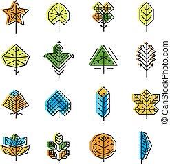 葉, アイコン, セット, ライン, スタイル