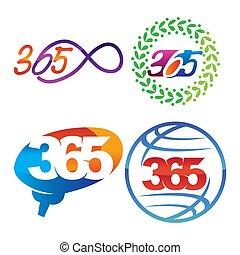 葉, アイコン, ロゴ, デザイン, 無限点, 脳, イラスト, 365, 世界