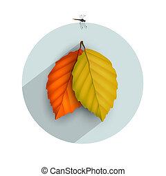 葉, アイコン, 影, 秋, 長い間