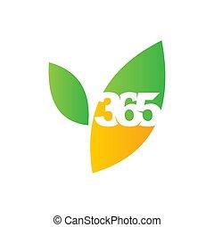 葉, アイコン, 農場, ロゴ, デザイン, 無限点, イラスト, 365, ベクトル