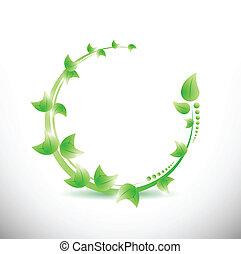 葉, イラスト, 緑, デザイン