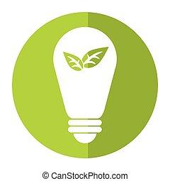 葉, エネルギー, 環境, 生態学的, 緑, 電球, 影