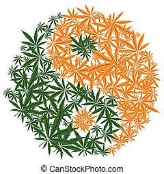 葉, カラフルである, yin, マリファナ, シンボル。, インド大麻, yang, デザイン, vector.