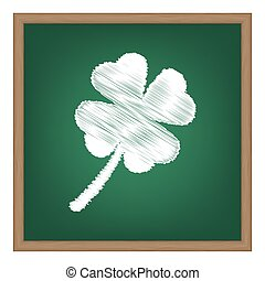 葉, クローバー, 印。, 白, チョーク, 効果, 上に, 緑, 学校, board.