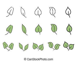 葉, セット, アイコン