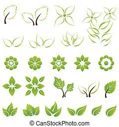 葉, セット, 緑, 花