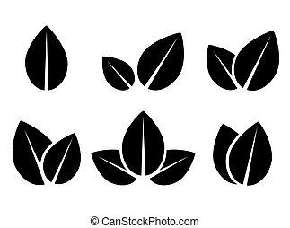 葉, セット, 黒, アイコン