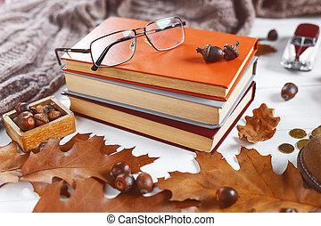 葉, テーブル, 山, 概念, 卵を生む, 本, カールされた, 教育, top.