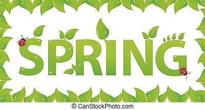 葉, デザイン, 緑, 春