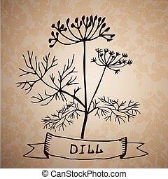 葉, ハーブ, dill, 隔離された, 花