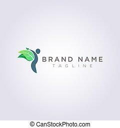 葉, ビジネス, ブランド, あなたの, 人, デザイン, ロゴ, ∥あるいは∥, 翼