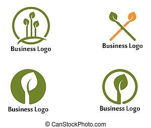 葉, ベクトル, アイコン, テンプレート, 木, デザイン, イラスト