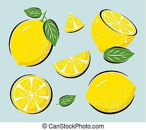 葉, ベクトル, レモン, 黄色, イラスト