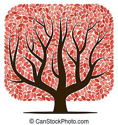 葉, ベクトル, 木, 赤
