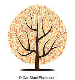 葉, ベクトル, 木, 黄色