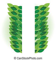 葉, ベクトル, 緑の背景