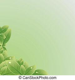 葉, ベクトル, 緑, texture., illustration.