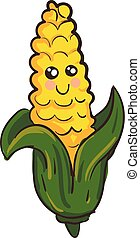 葉, ベクトル, 背景, 白い鶏眼, 微笑, 緑, 黄色, かわいい, イラスト