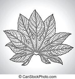 葉, ベクトル, 黒, イラスト