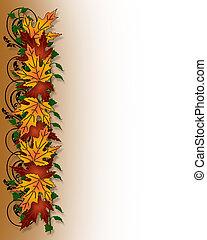 葉, ボーダー, 感謝祭, 秋