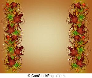 葉, ボーダー, 秋, フレーム, 秋