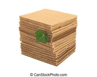 葉, ボール紙, 緑, 山