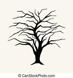 葉, ヤナギ, シルエット, 黒, 木, なしで