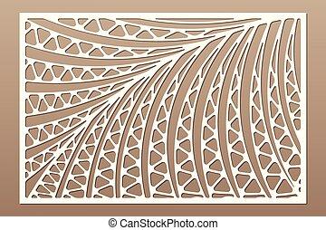 葉, レーザー, ベクトル, カード, やし, シダ, 比率, 群葉, pattern., 2:3., cut., ...